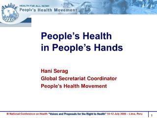 People�s Health  in People�s Hands