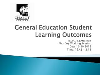 General Education Student Learning Outcomes