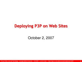 Deploying P3P on Web Sites
