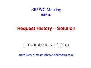Request History � Solution