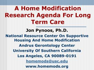 A Home Modification Research Agenda For Long Term Care