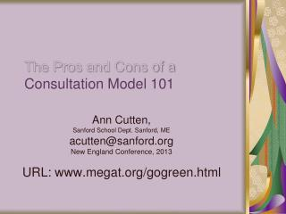 The Pros and Cons of a  Consultation Model 101
