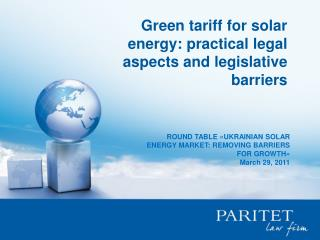 Green tariff for solar energy :  practical legal aspects and legislative barriers
