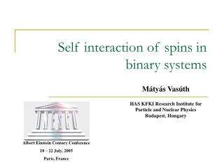 Self interaction of spins in binary systems
