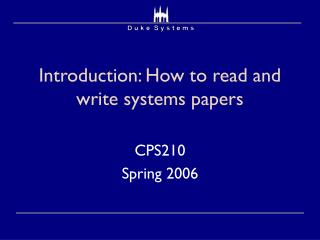 Introduction: How to read and write systems papers