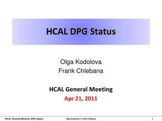 HCAL DPG Status