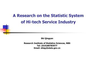 A Research on the Statistic System of Hi-tech Service Industry