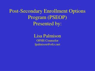Post-Secondary Enrollment Options Program