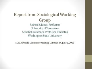 Sociological Working Group Major Objectives