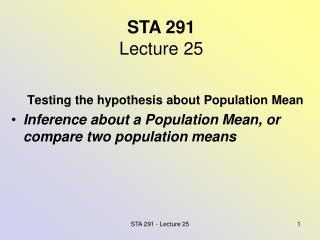 STA 291 Lecture 25