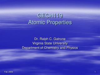 GECH119 Atomic Properties