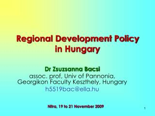 Regional Development Policy in Hungary