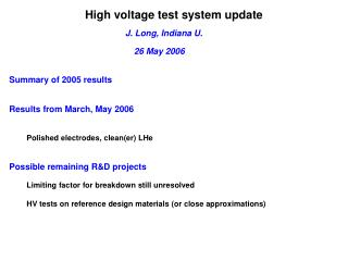 High voltage test system update
