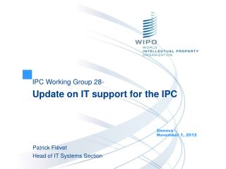 IPC Working Group 28- Update on IT support for the IPC