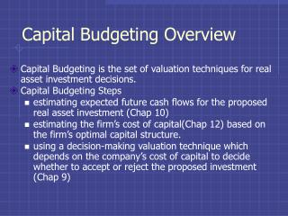 Capital Budgeting Overview