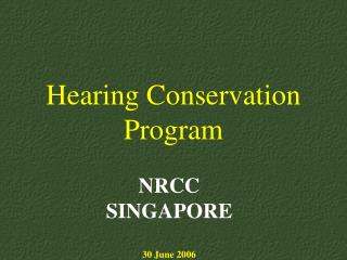 Hearing Conservation Program