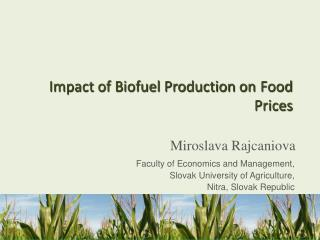 Impact of Biofuel Production on Food  Prices