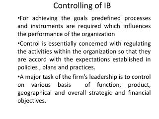 Controlling of IB
