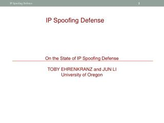 IP  Spoo?ng  Defense