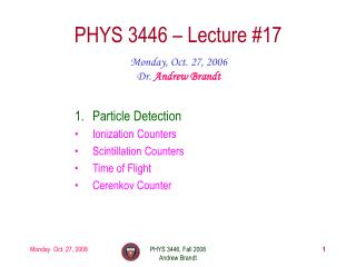 PHYS 3446 – Lecture #17