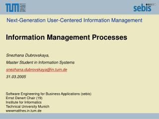 Next-Generation User-Centered Information Management