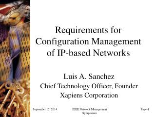 Requirements for Configuration Management of IP-based Networks