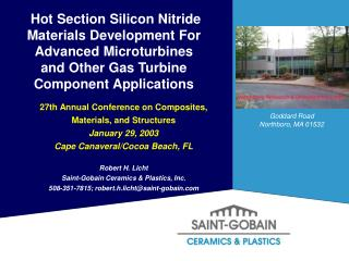 Hot Section Silicon Nitride Materials Development For Advanced Microturbines