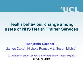 Health behaviour change among users of NHS Health Trainer Services