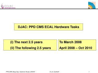 DJAC: PPD CMS ECAL Hardware Tasks
