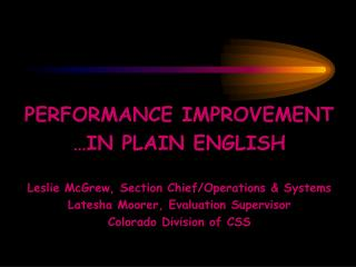 PERFORMANCE IMPROVEMENT …IN PLAIN ENGLISH Leslie McGrew, Section Chief/Operations & Systems