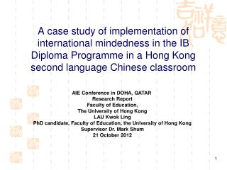 AIE Conference in DOHA, QATAR  Research Report Faculty of Education, The University of Hong Kong