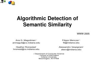 Algorithmic Detection of Semantic Similarity