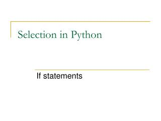 Selection in Python
