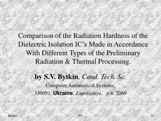 by S.V. Bytkin ,  Cand. Tech. Sc. Computer Automatical Systems,