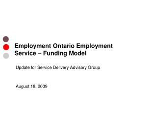 Employment Ontario Employment Service – Funding Model