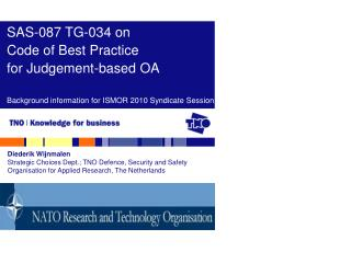 SAS-087 TG-034 on Code of Best Practice for Judgement-based OA