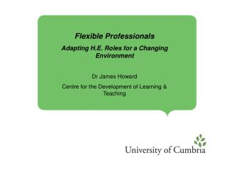 Flexible Professionals  Adapting H.E. Roles for a Changing Environment Dr James Howard