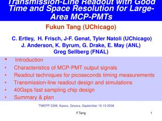 Transmission-Line Readout with Good Time and Space Resolution for Large-Area MCP-PMTs