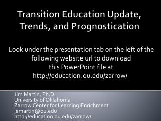 Transition Education Update, Trends, and Prognostication