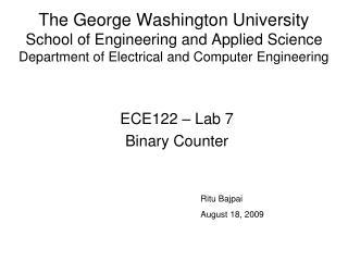 ECE122 – Lab 7 Binary Counter