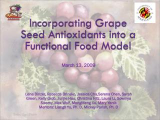 Incorporating Grape Seed Antioxidants into a Functional Food Model
