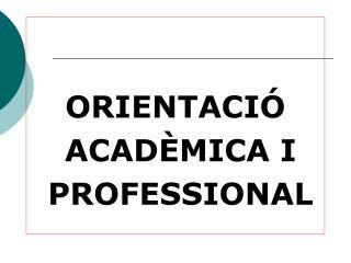 ORIENTACI   ACAD MICA I  PROFESSIONAL
