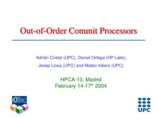 Out-of-Order Commit Processors