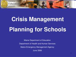 Crisis Management Planning for Schools