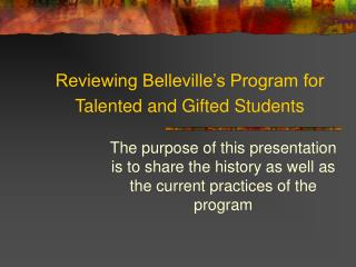 Reviewing Belleville's Program for Talented and Gifted Students