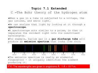 Topic 7.1 Extended C  – The Bohr theory of the hydrogen atom