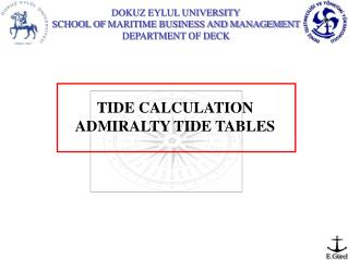 TIDE CALCULATION ADMIRALTY TIDE TABLES