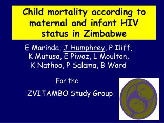 Child mortality according to maternal and infant HIV status in Zimbabwe