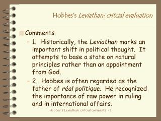 Hobbes's  Leviathan: critcial evaluation