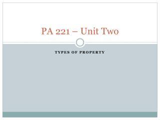 PA 221 � Unit Two
